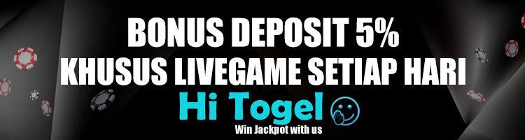 Bonus Deposit 5% Khusus Live Games Setiap Hari